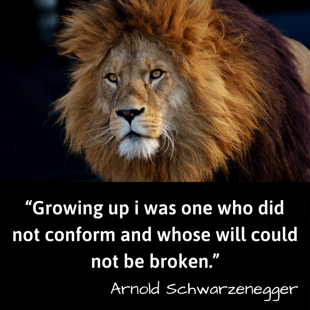 Life Changing Quotes-Growing up i was one who did not conform and whose will could not be broken–Arnold Schwarzenegger