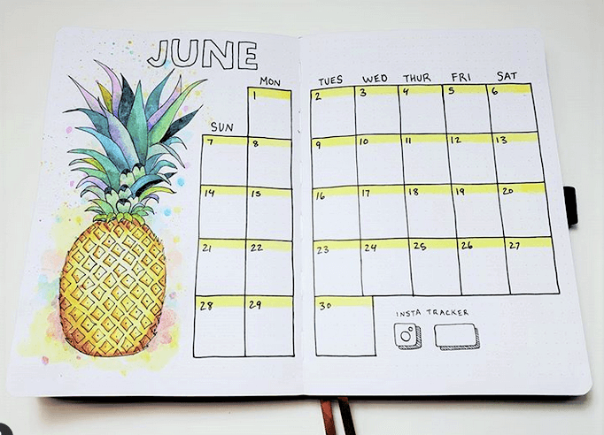 bullet journal monthly layout by ladyjbujo