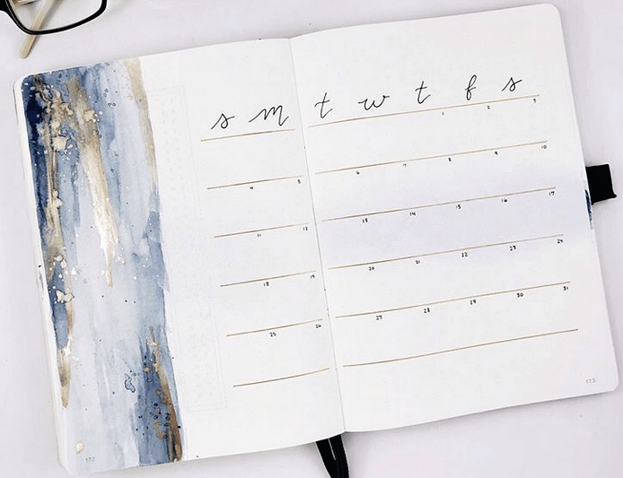 bullet journal monthly layout by coffeeandsarcasm
