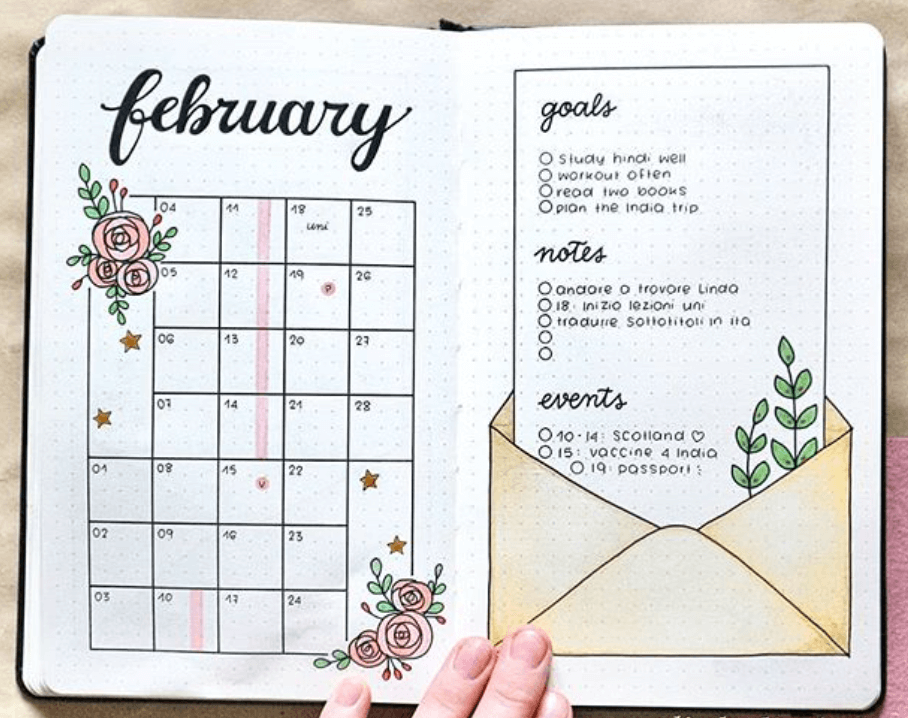 bullet journal monthly layouts by littleolivebujo