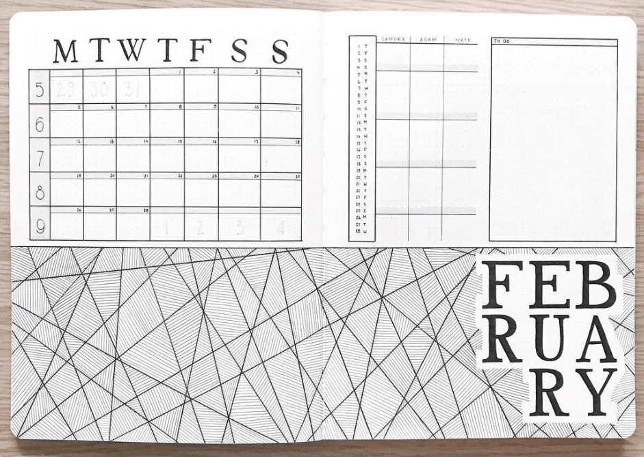 bullet journal monthly layouts by abulletandsomelines