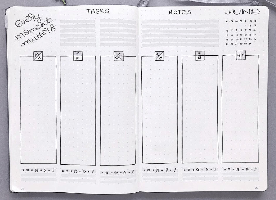 bullet journal weekly spread idea by bujoist