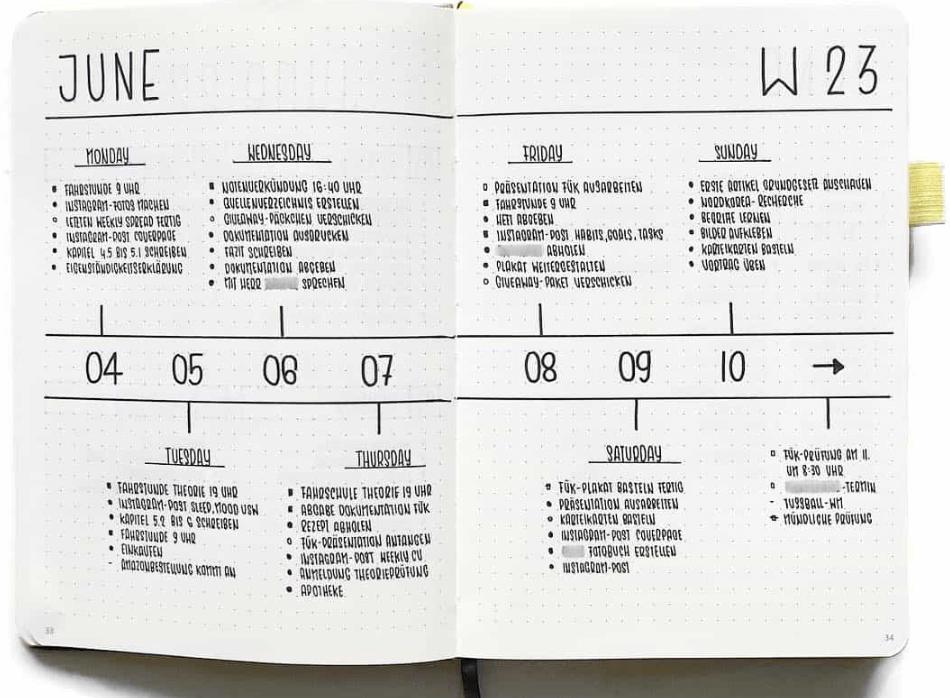 bullet journal weekly spread idea by flyingpaperwords
