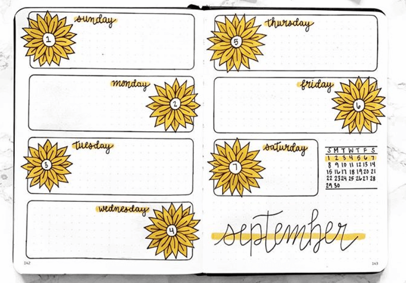 bullet journal weekly spreads by bujo-by-lo