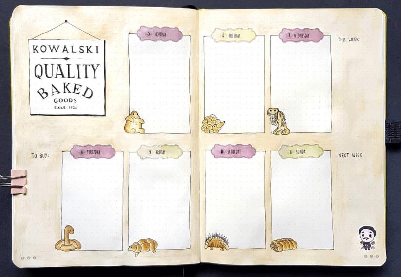 bullet journal weekly spreads by birdybujo