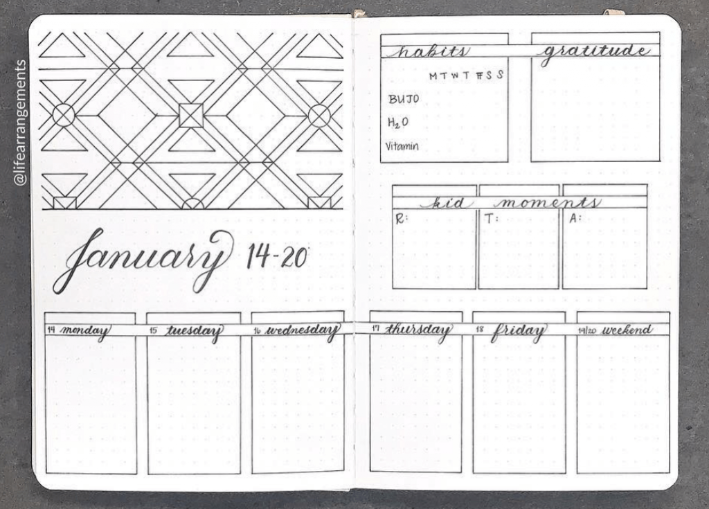 bullet journal weekly spreads by lifearrangements