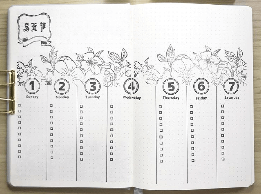 bullet journal weekly spreads by bujocchi