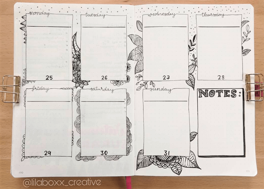 bullet journal weekly spread ideas by lilaboxx-creative