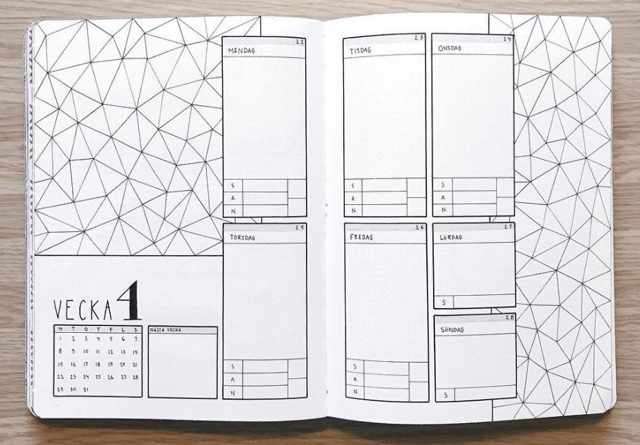 bullet journal weekly spread ideas by abulletandsomelines