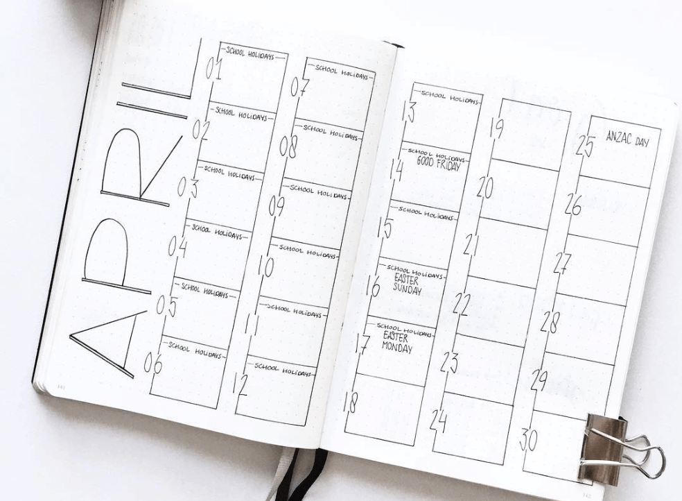 bullet journal monthly layout by intosimple